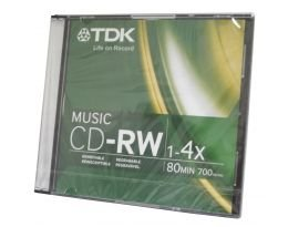 TDK 4x CD-RW Media - 700MB - 120mm Standard - 1 Pack Jewel C