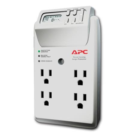Power Saving Surgearrest Four Outlet Wall Tap With Digital Timer With White Earbud Headphones