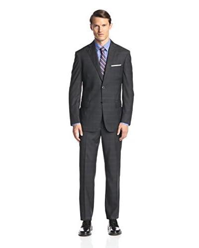 Ike Behar Men's Large Windowpane Suit
