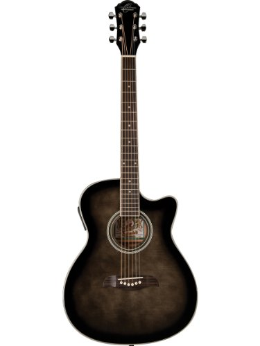 Oscar Schmidt Oacef-Tb Auditorium Style Cutaway Acoustic-Electric Guitar -Transparent Blue