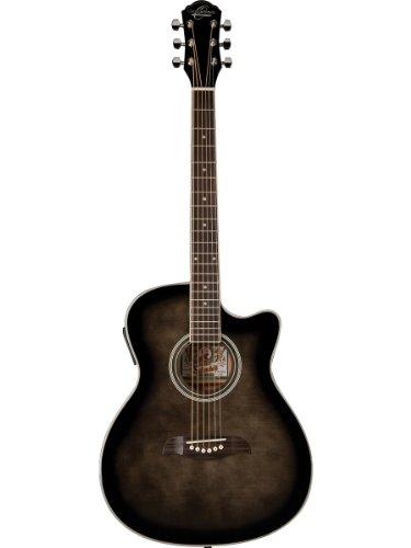 Oscar Schmidt Oacef-Tb Auditorium Style Cutaway Acoustic-Electric Guitar -Transparent Blue