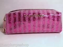 Best Cheap Deal for Victoria's Secret Pink Stripes Plastic Glitter Cosmetic Makeup Bag by VICTORIA'S SECRET - Free 2 Day Shipping Available