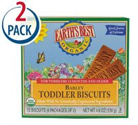 Earth's Best Barley Toddler Biscuits -- 4.6 oz Each / Pack of 2