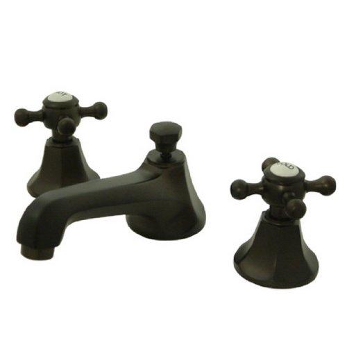 Kingston Brass KS4465BX Metropolitan Widespread Lavatory Faucet with Metal Cross Handle, Oil Rubbed Bronze