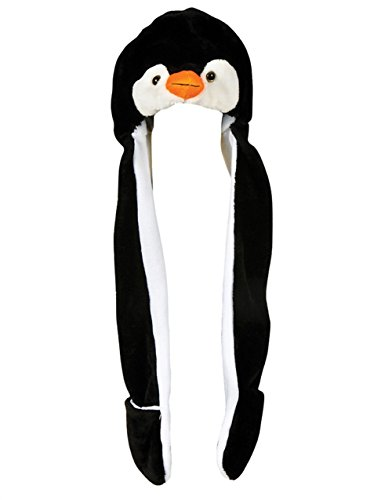 Plush Penguin Hat Novelty Cap Animal Costume Beanie With Long Paws