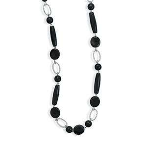 Black Glass Bead Fashion Necklace - 36-inch Length