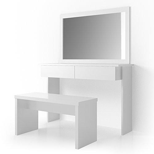 Schminktisch-Azur-Hocker-Kosmetiktisch-Frisierkommode-Frisiertisch-Spiegel-Viola