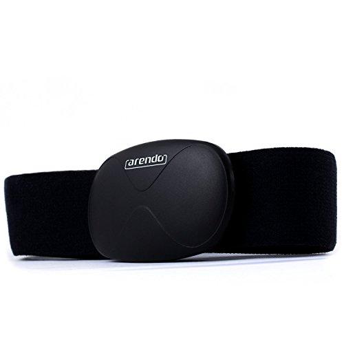 Arendo - Fascia per il rilevamento della frequenza cardiaca / cardiofrequenzimetro (Heart Rate Monitor) | fascia pettorale | trasmettitore con Bluetooth Smart 4.0 | ermetica | solo 14 grammi | nero | per prodotti Apple | con App i-gotU Sports per molti dispositivi Android