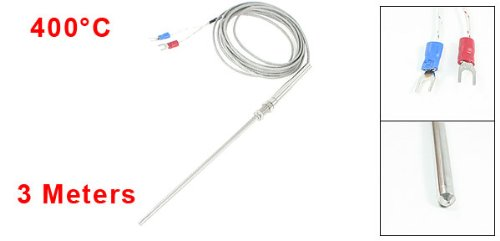 9.8ft K Type Insulated Thermocouple Probe for Temperature Controller k0387 k type thermocouple probe temperature measuring cable white yellow 2 77m