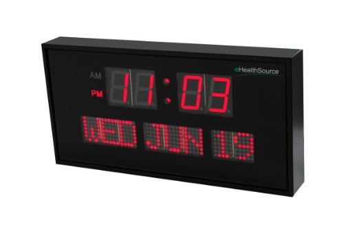 Ehealthsource big oversized digital red led calendar clock with day and date - shelf or wall mount (12 inch, red)