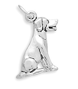 Sterling Silver Charm Pendant Labrador Sitting Dog 3d Lab Retriever