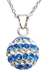 Silver crystal Pendant with 16