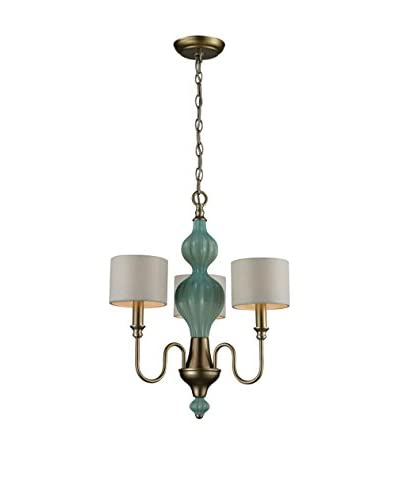 Artistic Lighting Lilliana 3-Light Chandelier, Seafoam/Aged Silver As You See