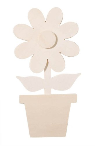 Darice 9189-10 Chunky Layered Wood Cutout, Daisy, 10mm