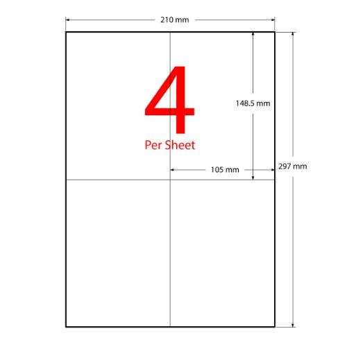 KooBoe AL422N100 Lot de 400 étiquettes pour adresses Compatible imprimante jet d'encre/laser 100 feuilles Blanc Format A4 105 x 148,5 mm