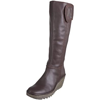 Fly London Women's Yuly Knee High Boot Leather Dark Brown P500179001 4 UK