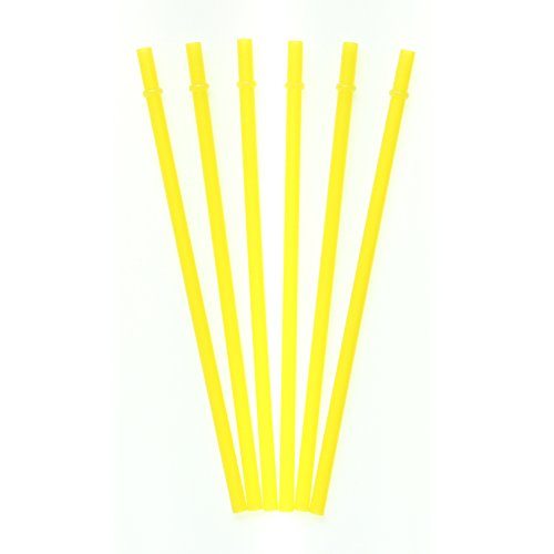 Dakoufish 12 Piece 9 Inch Reusable Plastic Thick Drinking Straws BPA Free Mason Jar Straws Plain Color 9 Colors (yellow) (Plastic Color Mason Jars compare prices)
