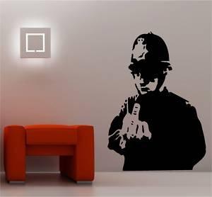 online design banksy style rude cop wandtattoo vinyl graffiti schwarz k che haushalt. Black Bedroom Furniture Sets. Home Design Ideas