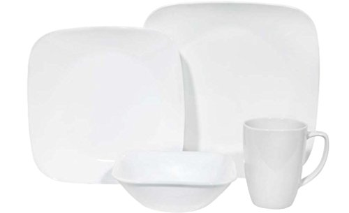 Corelle Square 16-Piece Dinnerware Set, Pure White, Service for 4 (Corelle Dinner Set Square compare prices)