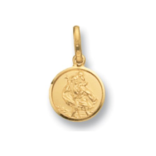 Mens 9ct Gold Round St Christopher Pendant On A 18 Inch Curb Necklace