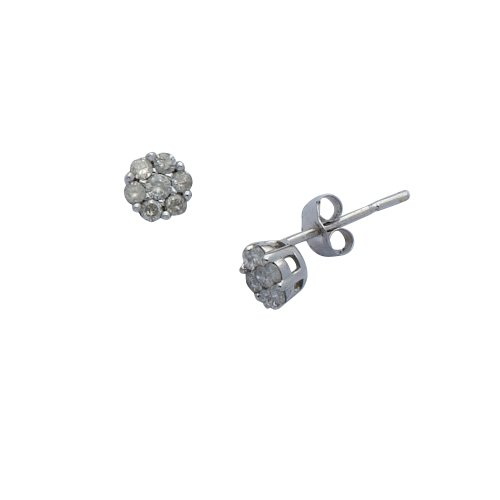 9ct White Gold 25Pt Diamond Cluster Earrings