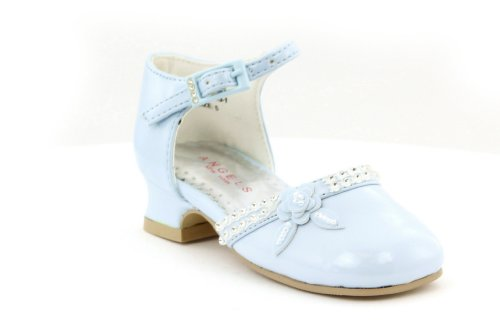 Betsy Patent Leather with Flower Mary Jane Baby Blue Shoes - Toddlers (Toddler 7.5)