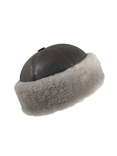 5E3AOZO Zavelio Men's Shearling Sheepskin Winter Beanie Hat XX-Large Camel