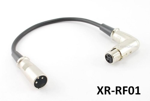 1Ft Premium Xlr Right-Angle Female To Male Microphone Audio Extension Cable