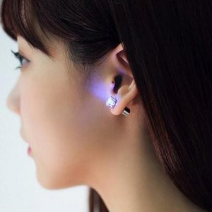 Purple 1Pc Light Up Led Earring Ear Stud Dance Party Accessories By Chonlyshop