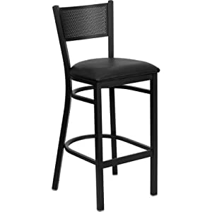 HERCULES Series Black Grid Back Metal Restaurant Bar Stool - Black Vinyl Seat by Flash