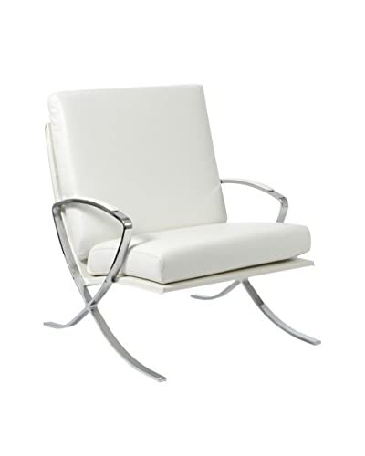 Euro Style Pietro Leather Lounge Chair, White