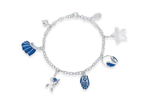 Dancing On Ice Sterling Silver White Cubic Zirconia/ Blue Enamel Charm Bracelet 18cm