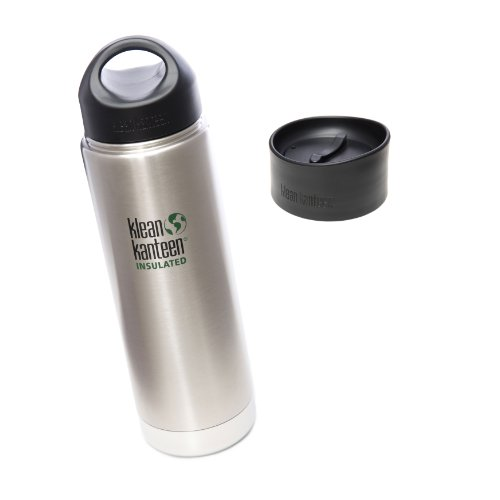 Klean Kanteen Coffee Set Wide Mouth Insulated Bottle w/ 2 Caps (Stainless Loop Cap and Cafe Cap) - Brushed Stainless 20 oz. (Kleen Kanteen Insulates compare prices)