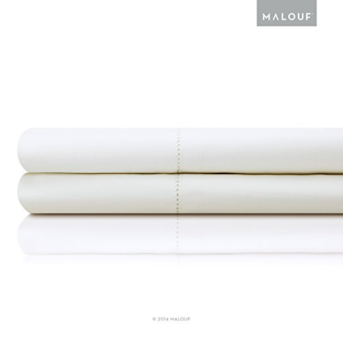 MALOUF Artisan Italian Cotton Percale Sheets - 100% Authentic Egyptian Cotton - Made in Italy - Full XL - White (Italian Bedspread compare prices)