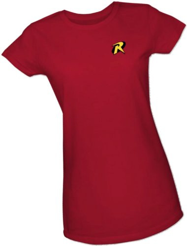 Robin Logo -- Batman & Robin Crop Sleeve Fitted Juniors T-Shirt