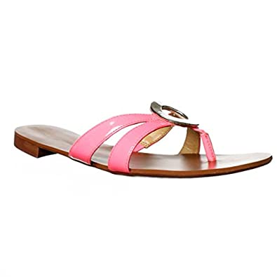 NINE WEST RACKET THONG SANDAL NEON PINK SYNTHETIC WOMEN SHOES SIZE 8 M