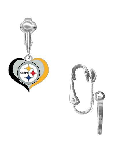 Pittsburgh Steelers Swirl Heart Earrings CLIP from SteelerMania