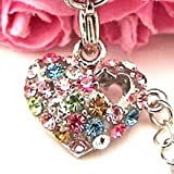 Multi Color Hearts Cell Phone Charm Strap Rhine Stone