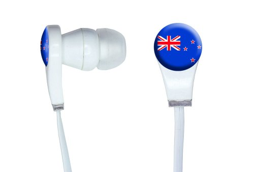 Graphics And More New Zealand Flag Novelty In-Ear Headphones Earbuds - Non-Retail Packaging - White