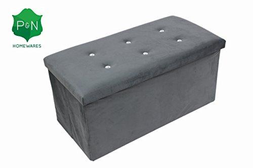 large-grey-ottoman-diamante-pouffe-stool-folding-storage-box-collapsible