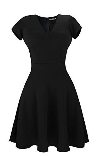 Heloise Women's A-Line Short Sleeve V-Neck Pleated Little Black Cocktail Party Dress (L, Black) (Teenager Dress Form compare prices)