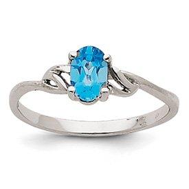 Genuine IceCarats Designer Jewelry Gift 14K White Gold Blue Topaz Birthstone Ring Size 7.00