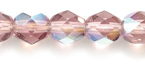 Preciosa Czech Fire 6 mm Faceted Round Polished Glass Bead, Light Amethyst Aurora Borealis, 200-Pack