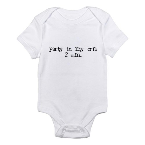 Cafepress Party In My Crib 2 Am Infant Bodysuit - 3-6M Cloud White