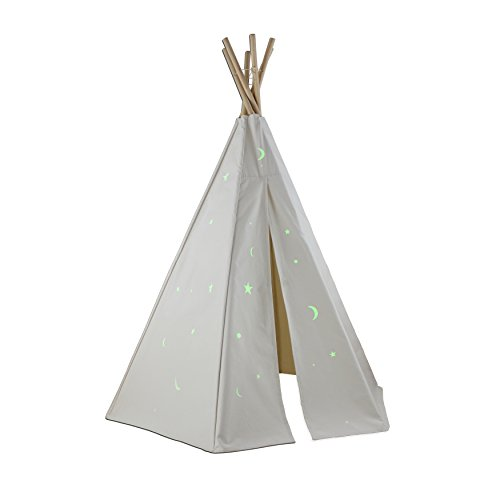 Dexton Great Plains Teepee with Glow in the Dark Stars, 6' - 1