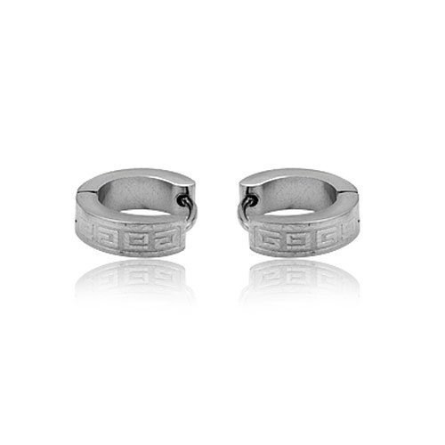 FASHION STAINLESS STEEL SILVER TONE HOOP EARRING FOR MEN JEWELRY 3.84grams