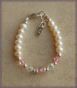 Pearl w/Pink crystal Sterling Silver Infant Baby Christening Bracelet 0-12 months