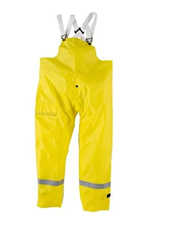 Neese UTBTF Flame Resistant Polyurethane/Nylon UT 5000 Bib Style Rain Trousers with Safety Fly and Snap Closure, Yellow