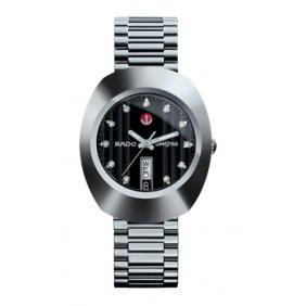 Rado Quartz, Silver Steel Band Black Dial - Men's Watch #R12408614