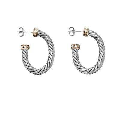 New Style Hoop Earrings 925 Sterling Silver w/ Open Oval and GP Edge CZ Circle Design(WoW !With Purchase Over $50 Receive A Marcrame Bracelet Free)